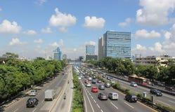 Tráfico en la carretera principal Jakarta Fotos de archivo