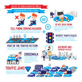 Tráfico en la ciudad, personajes de dibujos animados infographic Fotografía de archivo libre de regalías