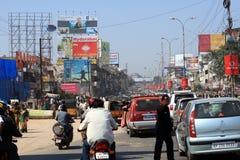 Tráfico extremo en Hyderabad, la India Imagen de archivo libre de regalías