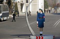 Tráfico femenino police.DPRK Imágenes de archivo libres de regalías
