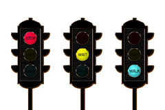 Tráfico-luz, tres colores foto de archivo
