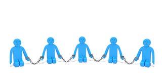 Tráfico o trata de esclavos humano La gente de arrodillamiento triste puso en cadenas Imagenes de archivo