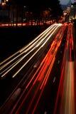 Tráfico rápido de la noche Imagen de archivo libre de regalías
