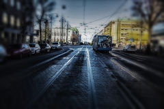 Tráfico urbano, autobús y tranvía Foto de archivo libre de regalías
