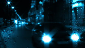 Tráfico y lluvia de la noche almacen de video
