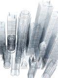 Trójwymiarowy błękitny druk korporacyjni budynki 3D ilustracja wektor