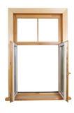 träöppet fönster Fotografering för Bildbyråer