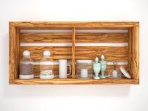 Träöppna hyllor med dekorativa objekt Royaltyfri Fotografi
