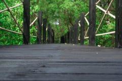 Trä överbrygga i skog Arkivfoto