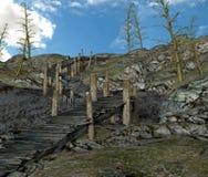 Trä överbryggar stock illustrationer