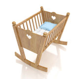 Trä behandla som ett barn vaggan med blåttkudden som isoleras på vit bakgrund Fotografering för Bildbyråer