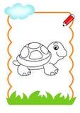 trä för bokfärgläggningsköldpadda Arkivfoto