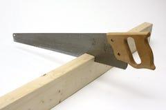 trä för cuttinghandsaw Arkivfoto