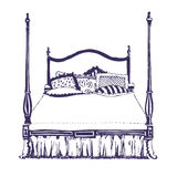 trä för dubbelt möblemang för sovrum modernt Stock Illustrationer