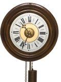 trä för klockpendel för klockaframsida gammalt arkivbild
