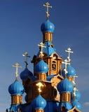 trä för kyrkliga kupoler för blue ortodoxt Arkivfoto