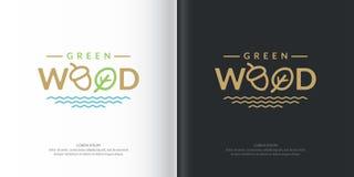 Trä för vektorlogogräsplan royaltyfri illustrationer