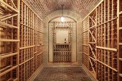 trä för wine för tegelstentakkällare royaltyfri bild
