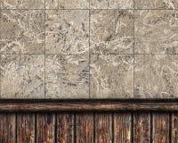 Trä kombinerad vägg som täckas med tegelplattor och Arkivbilder