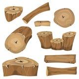 Trä loggar, fastställda stammar och plankor Arkivfoto