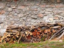 Trä loggar in framdelen av stenväggen Royaltyfria Foton
