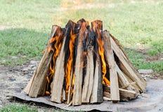 Trä loggar in upp brand, utomhus- brand för grillfesten, färgade flammor, slut Fotografering för Bildbyråer