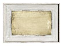 Trä målad ram som isoleras på vit Arkivbilder