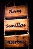Trä med inskriften av te i spanjor Fotografering för Bildbyråer