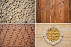 Trä, metall- och tegelplattatextur Royaltyfri Foto