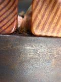 Trä och belägger med metall fotografering för bildbyråer