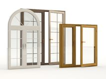 Trä och plast- fönster, illustration 3D royaltyfri illustrationer