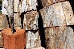 Trä och yxa Arkivfoto