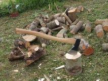 Trä och yxa arkivbild