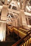 Trä på kammaren med i Wieliczka salta uppför trappan minen, Wieliczka, nära Krakow royaltyfri bild