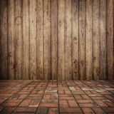 Trä på vägg- och tegelstengolvet för ditt hem och för bakgrund Royaltyfria Foton