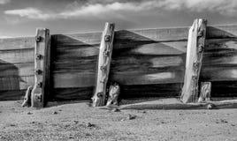 Trä- red ut havsvågbrytare och metallbultar, knotiga plankor av Arkivfoto