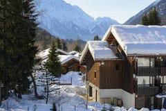 Trä skidar chalet i snö, bergsikt Arkivfoto