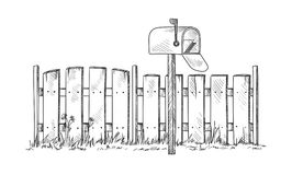 Trä skissa staketet med postboxen royaltyfri illustrationer