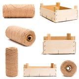 Trä töm asken, och rulle av tvinnar Arkivbild