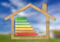 Trä texturerade symboler för attestering för energieffektivitet Royaltyfria Bilder