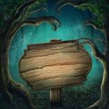 Trä underteckna in den mörka skogen royaltyfri illustrationer