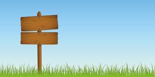 Trä underteckna in gräs med kopieringsutrymme för ditt meddelande stock illustrationer