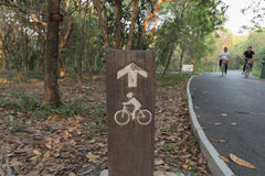 Trä undertecknar cyklister Arkivbild