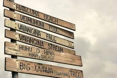 Trä undertecknar in Eua i Konungariket Tonga Royaltyfria Bilder