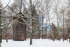 träantik windmill Fotografering för Bildbyråer