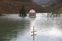 Träarg near översvämningskloster Valjevska Gracanica i sjön arkivbild