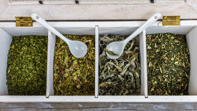 Träask av te med torkade örter och teskedar Royaltyfria Bilder