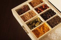 Träask mycket av kryddor Royaltyfri Fotografi