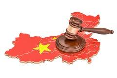 Träauktionsklubba på översikt av Kina, tolkning 3D royaltyfri illustrationer