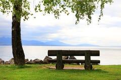 Träbänk framme av sjön Leman Royaltyfri Fotografi